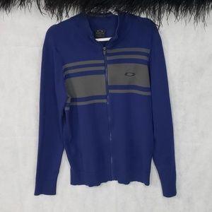 Mens OAKLEY navy full zip sweater size large